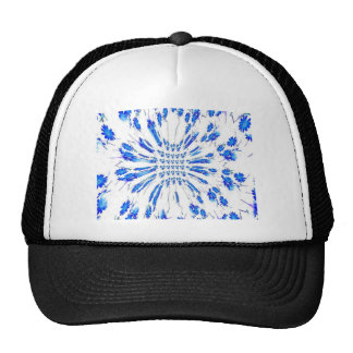 Swirl pattern of blue and white small flowers trucker hat