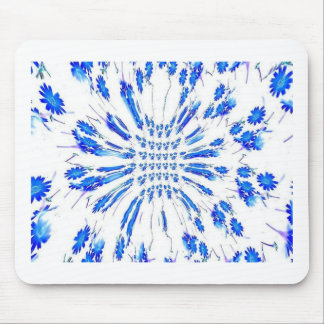 Swirl pattern of blue and white small flowers mouse pads