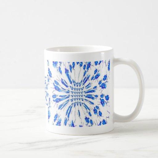 Swirl pattern of blue and white small flowers coffee mug