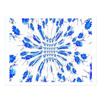 Swirl pattern of blue and white small flowers postcard