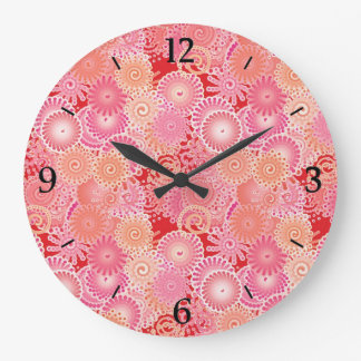 Swirl pattern, pink, coral, peach and cream large clock