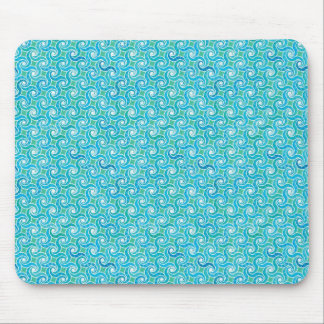Swirl pattern, turquoise, green, blue mouse pad