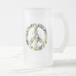 Swirl Peace Sign Frosted Glass Beer Mug