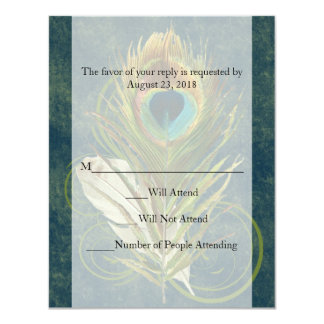 "Swirl Peacock Feather -Click to View MATCHING SET- 4.25"" X 5.5"" Invitation Card"
