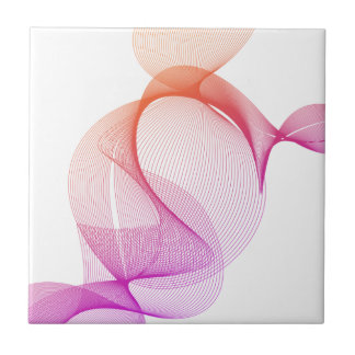 Swirl Pink Digital Art Design Ceramic Tile