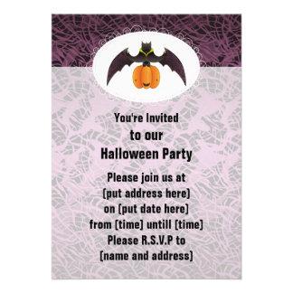 Swirl Purple Halloween Bat Personalized Invitations