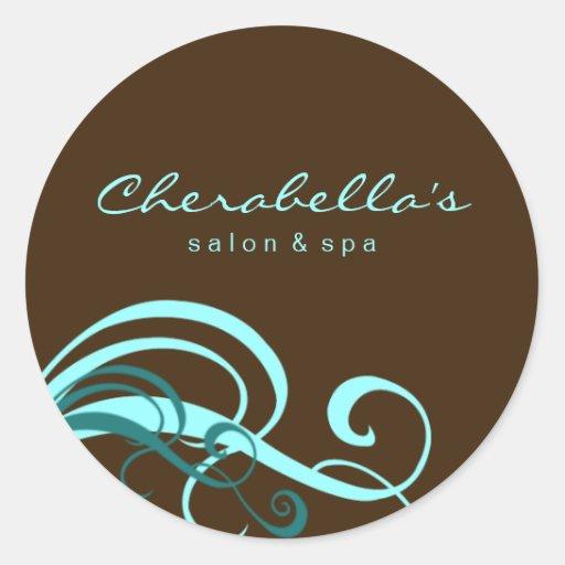 Swirl salon spa sticker blue brown zazzle for Stickers salon