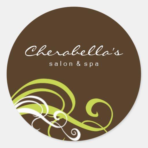 Swirl salon spa sticker lime green brown zazzle for Stickers salon