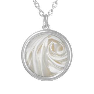 Swirl satin white wedding chic textile silk style necklace
