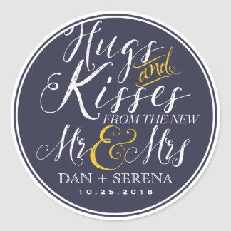 Swirl Script Mr and Mrs Wedding Favor Sticker