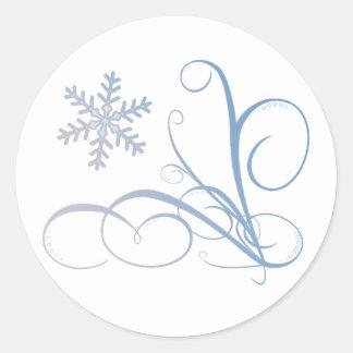 Swirl Snowflake Round Sticker