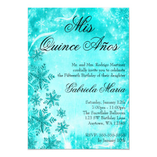 Swirl Snowflake Teal Winter Wonderland Quinceanera Personalized Announcement