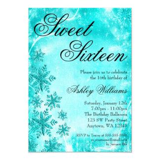 Swirl Snowflakes Teal Sweet 16 Winter Wonderland 5x7 Paper Invitation Card