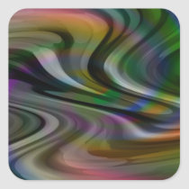 Swirl Swirly Colourful Paint Abstract Pattern Square Sticker
