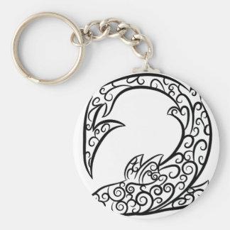 Swirl Tattoo Shark Basic Round Button Keychain