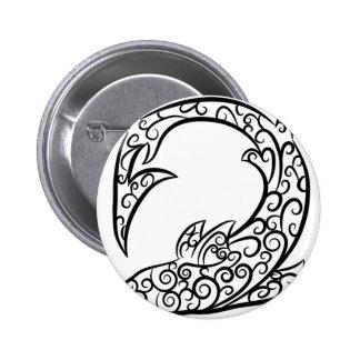 Swirl Tattoo Shark 2 Inch Round Button