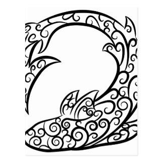 Swirl Tattoo Shark Postcard