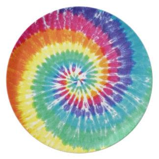 Swirl Tie Dye Multicolor Rainbow Melamine Plate