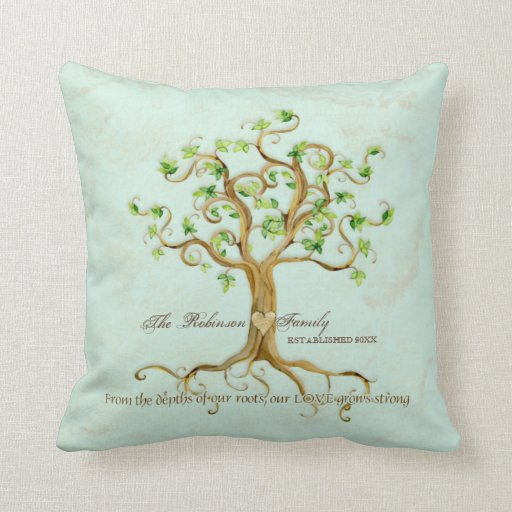 Swirl Tree of Life Roots Personalized Family Gift Pillow