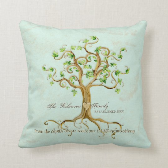 Swirl Tree of Life Roots Personalized Family Gift Throw Pillow