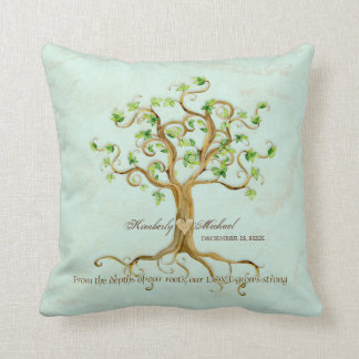 Swirl Tree of Life Roots Personalized Wedding Gift Throw Pillow