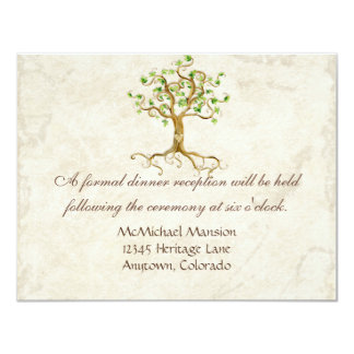 Swirl Tree Root Antiqued Sage Reception Invite