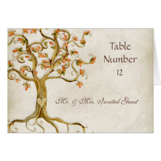 Swirl Tree Roots Antique Tan Escort Place Cards