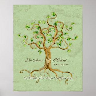 Swirl Tree Roots Antiqued Aqua Wedding Gift Art Poster
