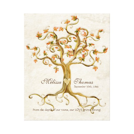 Wedding Gift For Quest : Swirl Tree Roots Antiqued Fall Wedding Gift Art Canvas Print Zazzle