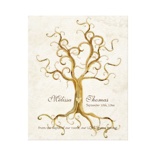 Wedding Gift Canvas Art : ... Roots Antiqued Fall Wedding Gift Art Gallery Wrapped Canvas Zazzle
