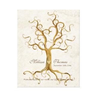 Swirl Tree Roots Antiqued Fall Wedding Gift Art Canvas Print