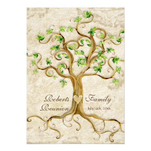 Swirl Tree Roots Antiqued Family Reunion Invite (back side)