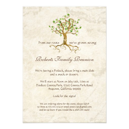Swirl Tree Roots Antiqued Family Reunion Invite