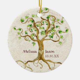 Swirl Tree Roots Antiqued Family Reunion Invite Ceramic Ornament