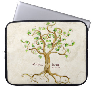 Swirl Tree Roots Antiqued Family Reunion Invite Computer Sleeves
