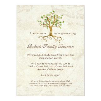 "Swirl Tree Roots Antiqued Family Reunion Invite 6.5"" X 8.75"" Invitation Card"