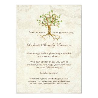 "Swirl Tree Roots Antiqued Family Reunion Invite 5.5"" X 7.5"" Invitation Card"