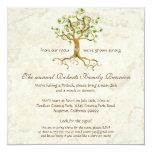 "Swirl Tree Roots Antiqued Family Reunion Invite 5.25"" Square Invitation Card"