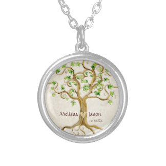 Swirl Tree Roots Antiqued Family Reunion Invite Silver Plated Necklace