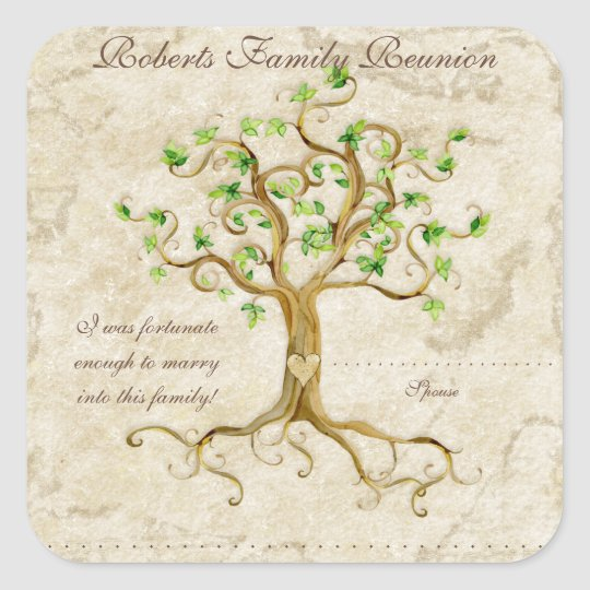 Swirl Tree Roots Antiqued Family Reunion Name Tags
