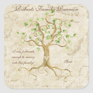 Swirl Tree Roots Antiqued Family Reunion Name Tags Square Sticker