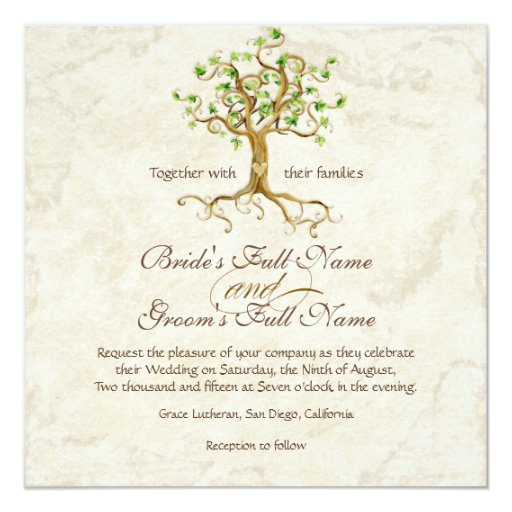 Swirl Tree Roots Antiqued Green Parchment Wedding Card
