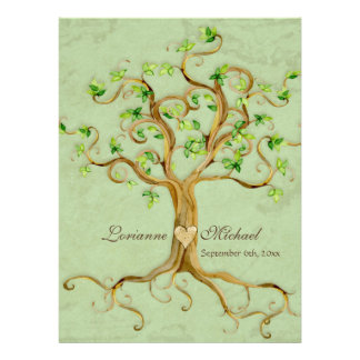 Swirl Tree Roots Antiqued Green Parchment Wedding Personalized Invitation