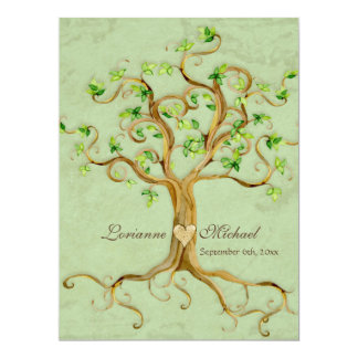 Swirl Tree Roots Antiqued Green Parchment Wedding 6.5x8.75 Paper Invitation Card