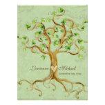 Swirl Tree Roots Antiqued Green Parchment Wedding Custom Invitation