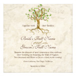 Swirl Tree Roots Antiqued Green Parchment Wedding Custom Invite