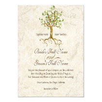 """Swirl Tree Roots Antiqued Green Parchment Wedding 5.25"""" Square Invitation Card"""