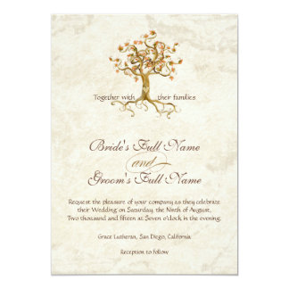 Swirl Tree Roots Antiqued Parchment Monogrammed Card