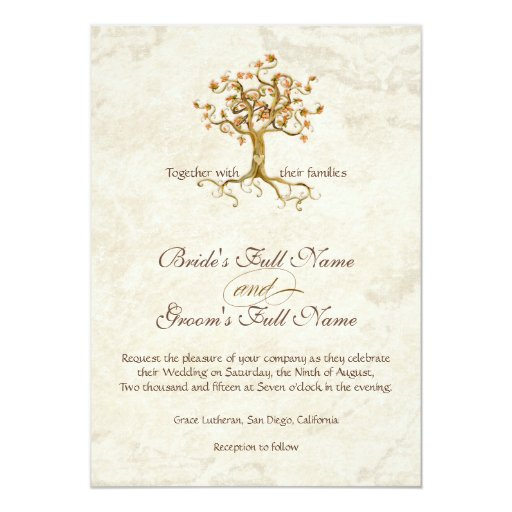 Swirl Tree Roots Antiqued Parchment Monogrammed 5x7 Paper Invitation Card
