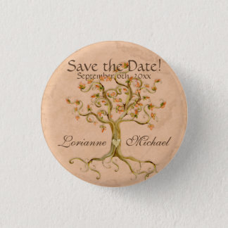 Swirl Tree Roots Antiqued Parchment Save the Date Button